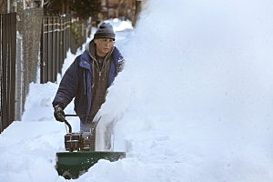 Man Digs Out After Snowstorm
