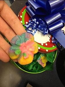 Rainbow tie-dyed flower cookies