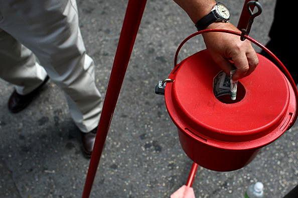 man making donation