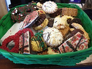 basket of holiday cookies