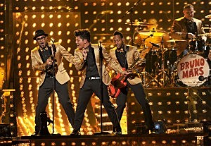 Bruno Mars performs at the 2012 Grammys