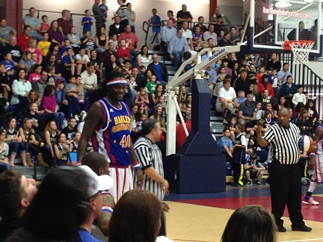 Lou Russo with the Harlem Globetrotters
