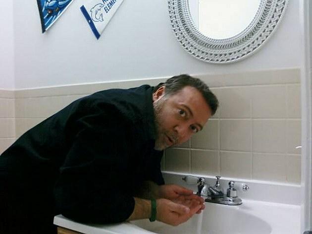 Lou washing hands