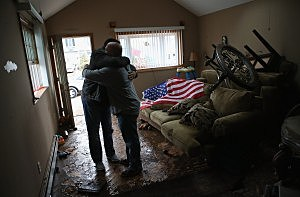 Hugging after Hurricane Sandy