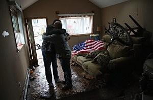 Hugging after Hurricane Sandy