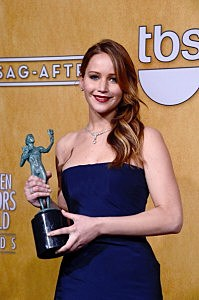 """Jennifer Lawrence, winner of Outstanding Performance by a Female Actor in a Leading Role for """"Silver Linings Playbook"""