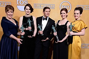 """Actors Phyllis Logan, Michelle Dockery, Allen Leech, Amy Nuttall and Sophie McShera, winners of Outstanding Performance by an Ensemble in a Drama Series for """"Downton Abbey,"""""""
