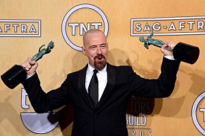 """Actor Bryan Cranston, winner of Outstanding Performance by a Male Actor in a Drama Series for """"Breaking Bad"""" and Outstanding Performance by a Cast in a Motion Picture for """"Argo,"""" poses in the press room during the 19th Annual Screen Actors Guild Awards"""