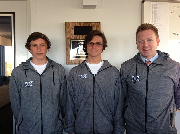 Liam, Cooper and Coach buss from the Manasquan high School Surf Team