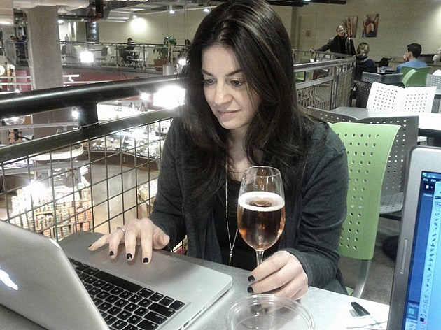 woman online with wine