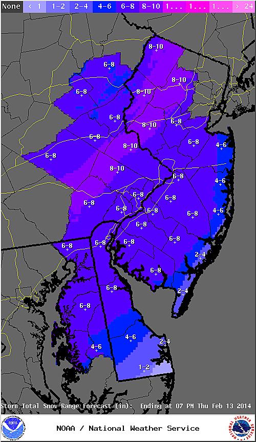 2-13-14 snow map