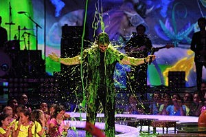 Host Mark Wahlberg gets slimed onstage during Nickelodeon's 27th Annual Kids' Choice Awards