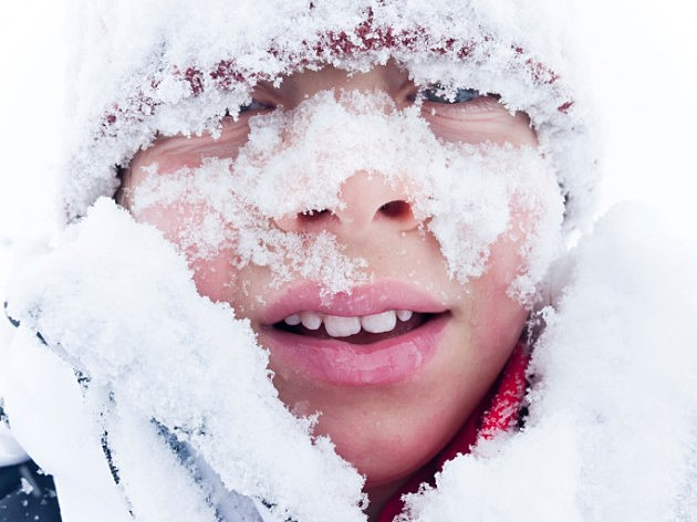 Child Covered In Snow