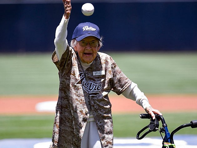 105-year-old Agnes McKee throws out the first pitch before a baseball game between the New York Mets and the San Diego Padres at Petco Park