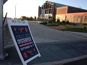 A sign promoting Oysterfest in front of the Asbury Park Casino