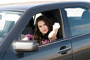 angry woman driving car