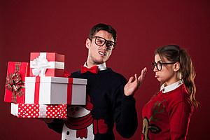 man gives gifts