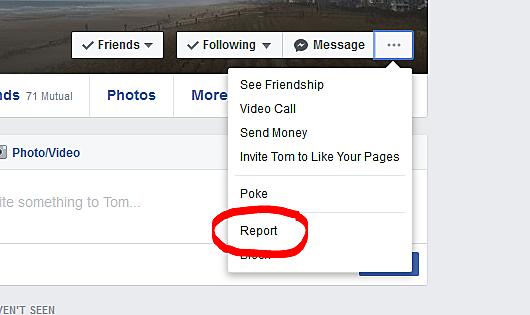 report a facebook account
