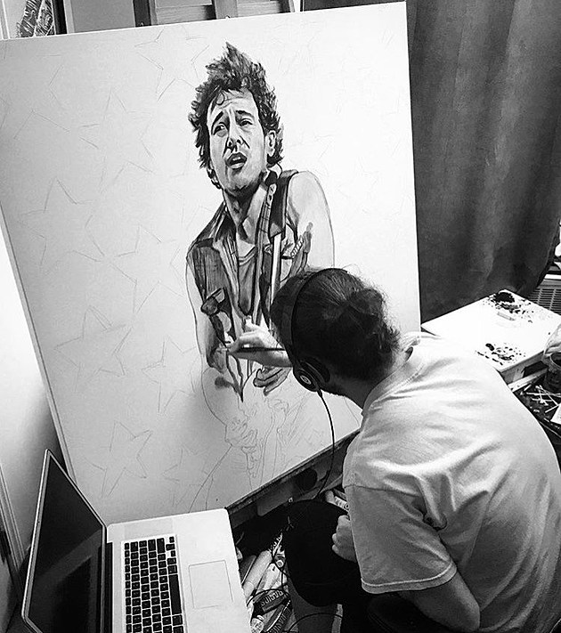 (Jeremy is a local artist in the process of completing a Bruce Springsteen piece, photo by Michael Cassiliano.)